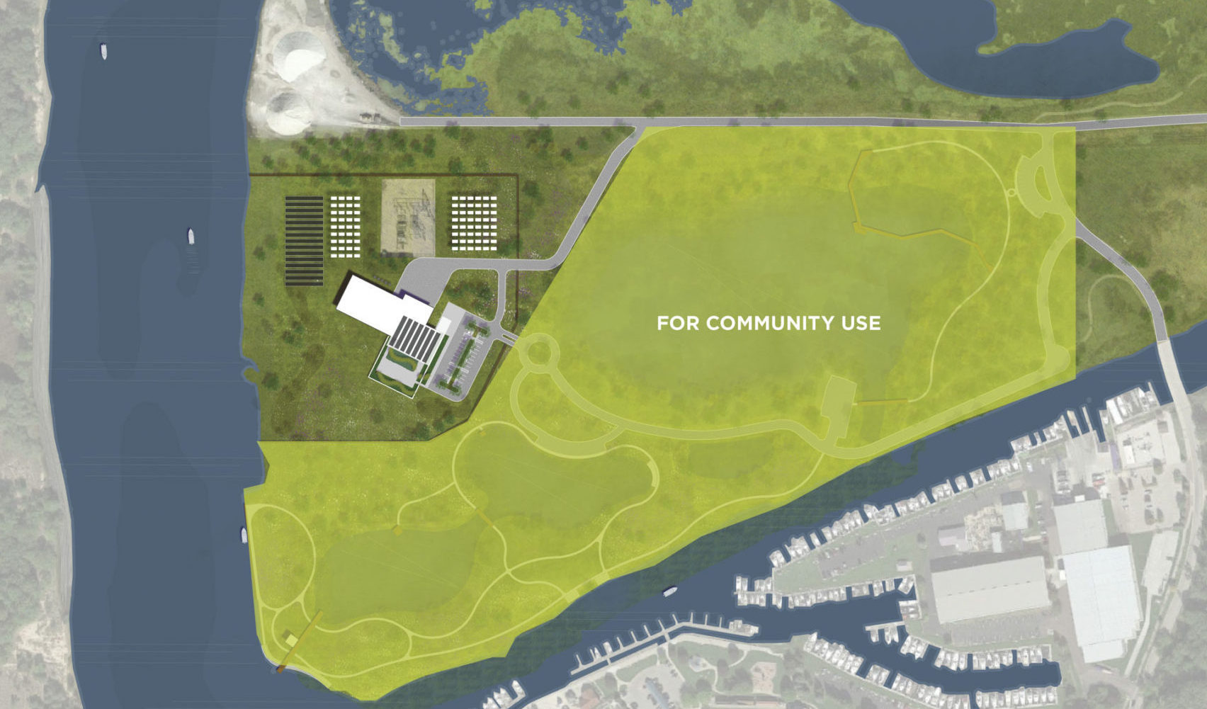 4 - GHBLP Site Rendering - Aerial Plan with Community Portion Highlighted